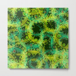 Spring pastels gently pearl and lemon circles and green ellipses with the image of abstract flowers Metal Print