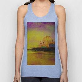 Yellow Purple Santa Monica Pier Unisex Tank Top
