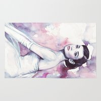 audrey hepburn Area & Throw Rugs featuring Audrey Hepburn by Olechka