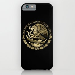 Mexican flag seal in sepia tones on black bg iPhone Case