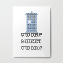 Doctor Who TARDIS Cross Stitch - Vworp Sweet Vworp Metal Print