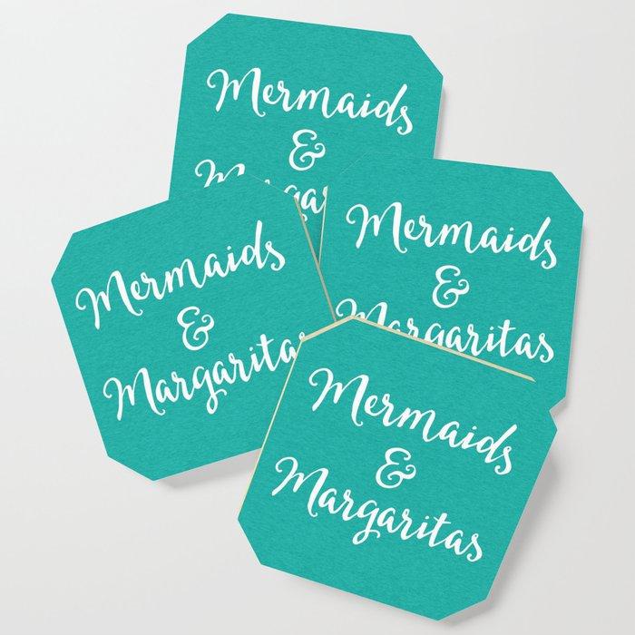 Mermaids & Margaritas Funny Quote Coaster by envyart
