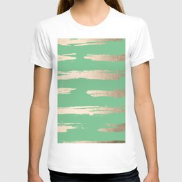Abstract Paint Stripes Gold Tropical Green T-shirt
