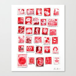 Red Stamp Collection Love Letters Valentine Romantic Pink Sexy Canvas Print