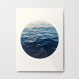 Mid Century Modern Round Circle Photo Graphic Design Ripples Of Ombre Blue Water Metal Print