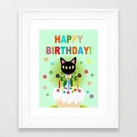happy birthday Framed Art Prints featuring Happy Birthday! by BATKEI