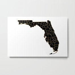 Florida map, USA Metal Print