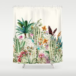 Blooming in the cactus Shower Curtain