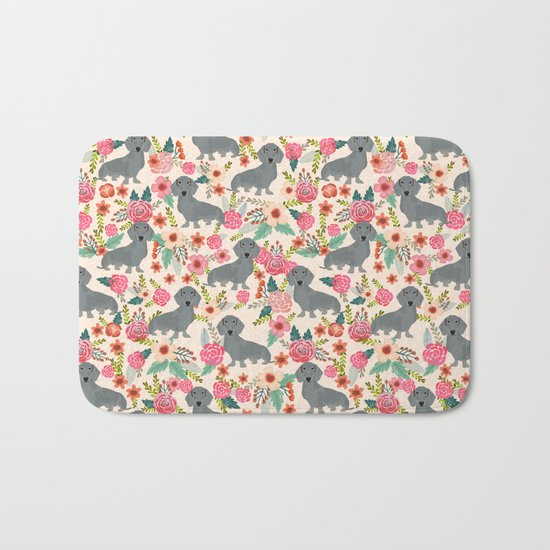 Dachshund florals grey doxie dachsie pattern with flowers cute gifts for wiener dog owners Bath Mat