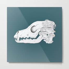 Overgrown Fox Skull (with background) Metal Print