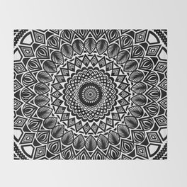 Detailed Black and White Mandala Throw Blanket