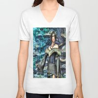final fantasy V-neck T-shirts featuring Lulu Final Fantasy 10 by Joe Misrasi