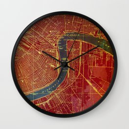 09-New Orleans Louisiana 1932, red and blue old map Wall Clock