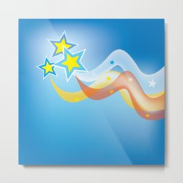 multicolored stars and waves  Metal Print
