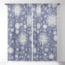 Beautiful Flowers in Navy Vintage Floral Design Sheer Curtain