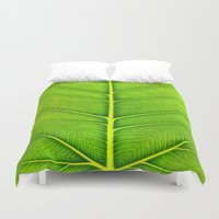leaf Duvet Covers featuring Leaf by Patterns and Textures