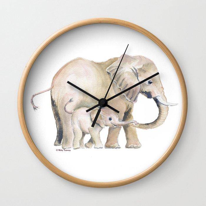Mom and Baby Elephant 2 Wall Clock