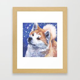 Akita inu Fine Art Dog Painting by L.A.Shepard Framed Art Print