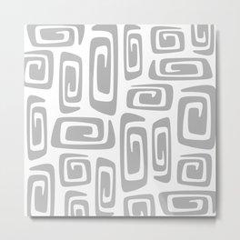 Mid Century Modern Cosmic Abstract 613 Gray Metal Print