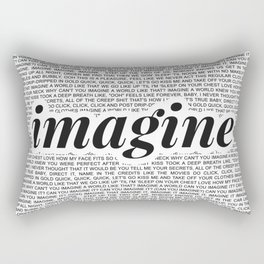 imagine - Ariana - imagination - lyrics - white black Rectangular Pillow