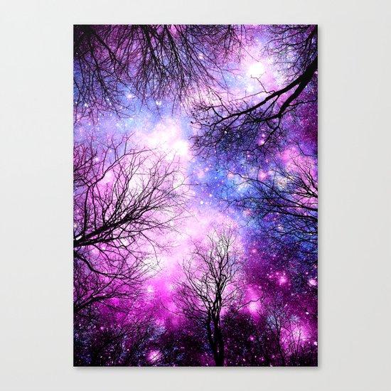 Black Trees Purple Fuchsia Blue Space Canvas Print