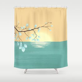 Delicate Asian Inspired Image of Pastel Sky and Lake with Silver Leaves on Branch Shower Curtain
