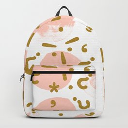 Gold signs and pink circles Backpack
