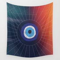 evil eye Wall Tapestries featuring Evil Eye by DuckyB