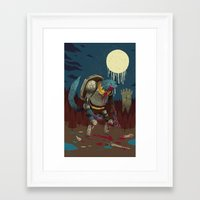 medieval Framed Art Prints featuring medieval werewolf by Louis Roskosch