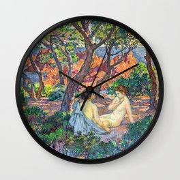 Theo van Rysselberghe - In the Shade of the Pines (new color edit) Wall Clock