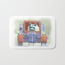 Raccoon Driving Old Red Truck Bath Mat