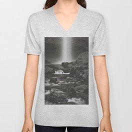 Latourell Falls Waterfall II - Black and White Unisex V-Neck