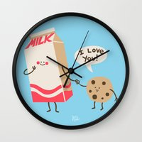 milk Wall Clocks featuring Cookie Loves Milk by Jessica Fink
