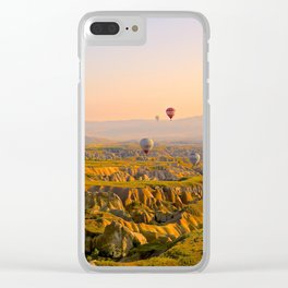 Hot Air Balloons Over a Beautiful Rugged Terrain Clear iPhone Case