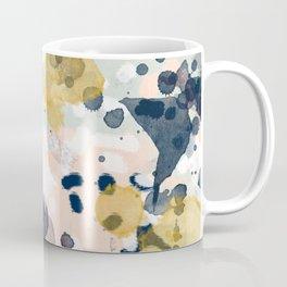 Noel - navy mint gold painted abstract brushstrokes minimal modern canvas art painting Coffee Mug