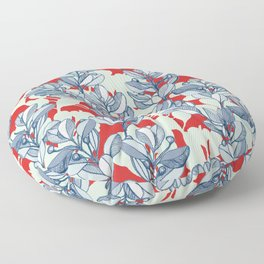 Leaf and Berry Sketch Pattern in Red and Blue Floor Pillow