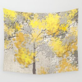Abstract Yellow and Gray Trees Wall Tapestry