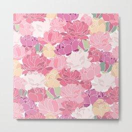 Rose Peony Flowers Metal Print