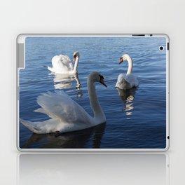Three Swans On Lake Varese Laptop & iPad Skin