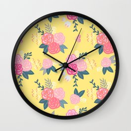Sweet Roses on Yellow Wall Clock