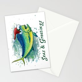 "Seas and Greetings ~ ""Mahi Mahi Splash"" by Amber Marine ~ Watercolor ~ (Copyright 2016) Stationery Cards"