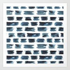 Indigo brushstrokes Art Print