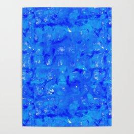 Tie Dye Shibori Water Cubes in Ocean Blue Poster
