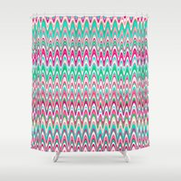 preppy Shower Curtains featuring Making Waves Pink and Preppy by Shawn King