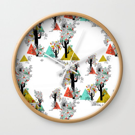 Tree Triangles Wall Clock