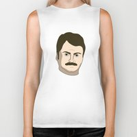 ron swanson Biker Tanks featuring Ron Swanson by irosebot