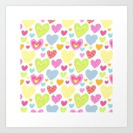 spring hearts Art Print