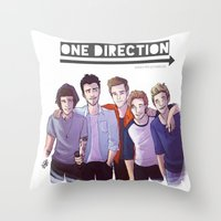 one direction Throw Pillows featuring One Direction by Gianbe