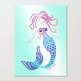 Tribal Mermaid with Ombre Turquoise Background Canvas Print
