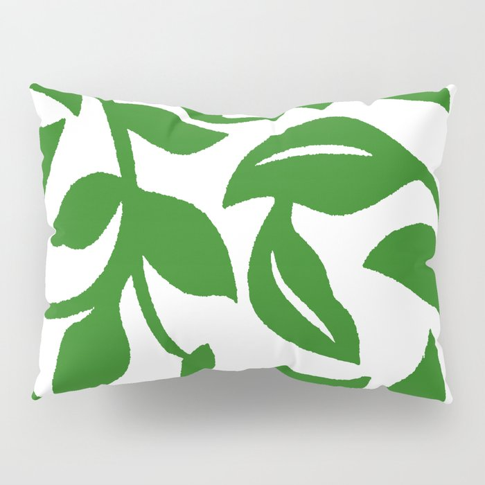 PALM LEAF VINE SWIRL IN GREEN AND WHITE Pillow Sham